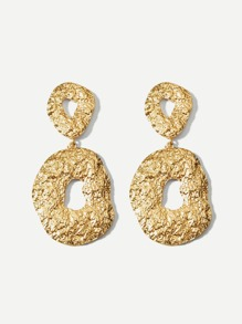 Textured Round Drop Earrings 1pair