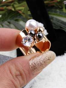 Rhinestone & Ball Decorated Wide Ring