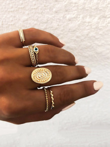 Textured Round Detail Ring Set 6pcs