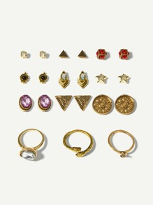 Triangle & Gemstone Stud Earrings 6pairs & Ring 3pcs