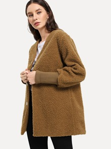 Solid Single-breasted Teddy Coat