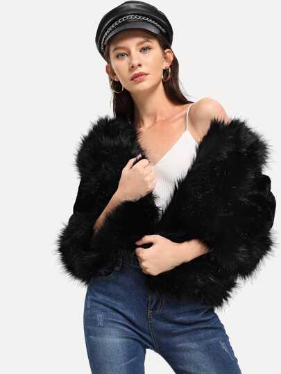 09604f49926812 Fluffy Faux Fur Coat