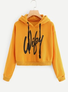 Letter Print Hooded Sweatshirt