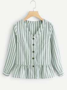Single Breasted Ruffle Hem Striped Blouse