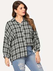Plus Lantern Sleeve Plaid Blouse