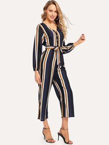 Belted Striped V-Neck Jumpsuit