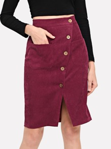 Single Breasted Corduroy Skirt