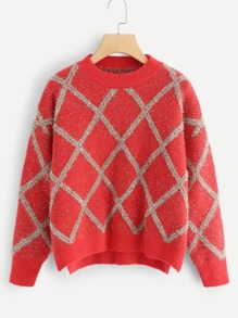 Split Side Plaid Jumper
