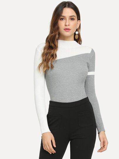 f14edbcf3a Color-Block Skinny Sweater