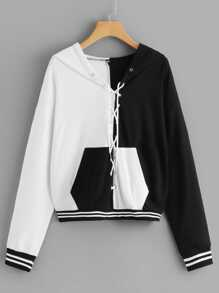 Lace Up Contrast Panel Hooded Sweatshirt