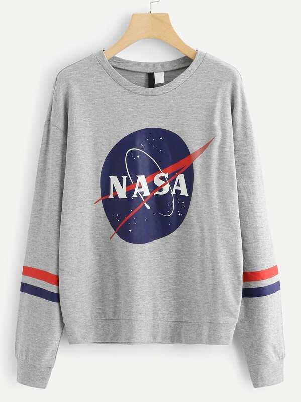 652e221b2de Plus Letter Print Varsity Striped Sweatshirt