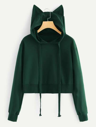 Drawstring Detail Hooded Sweatshirt