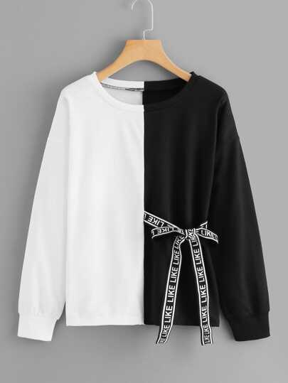 Letter Print Ribbon Decoration Sweatshirt