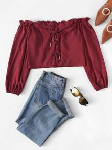 Lace-Up Frill Trim Off The Shoulder Blouse