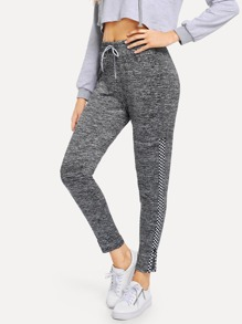 Drawstring Waist Zip Side Leggings