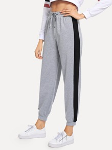 Drawstring Waist Colorblock Pants