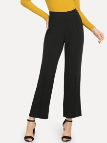 Button Hem Zip Side Solid Pants