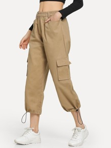 Drawstring Hem Pocket Detail Pants