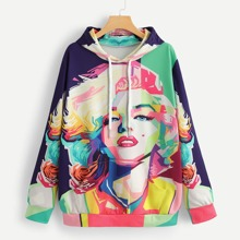 Abstract Figure Print Hooded Sweatshirt