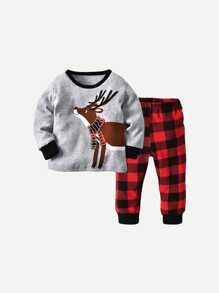 Toddler Boys Cartoon Print Tee With Plaid Pants