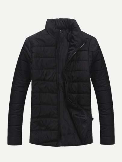 Men Solid Zipper Up Puffer Coat