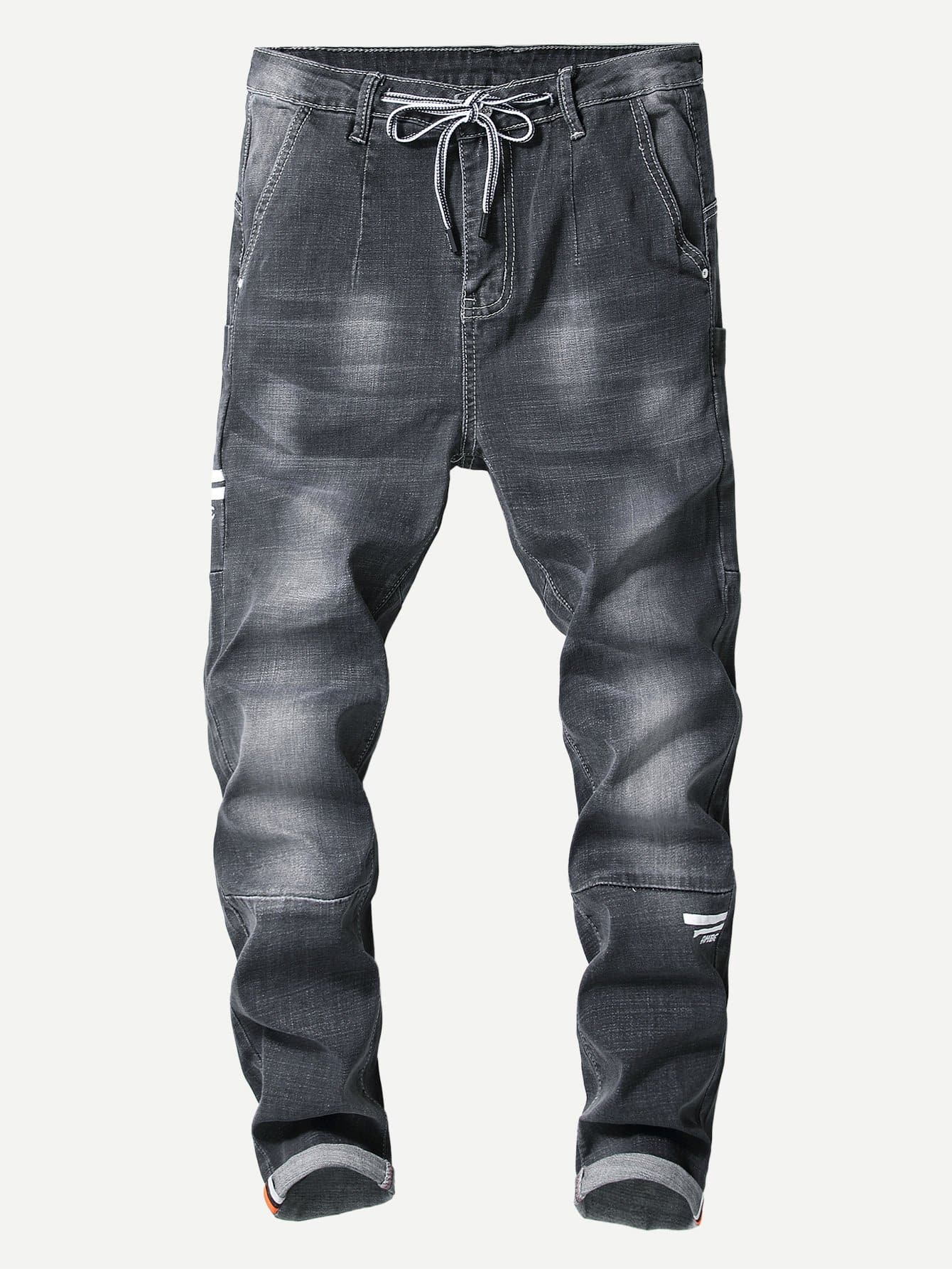 Men Cut And Sew Panel Drawstring Jeans Men Cut And Sew Panel Drawstring Jeans