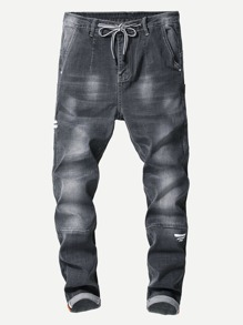 Men Cut And Sew Panel Drawstring Jeans