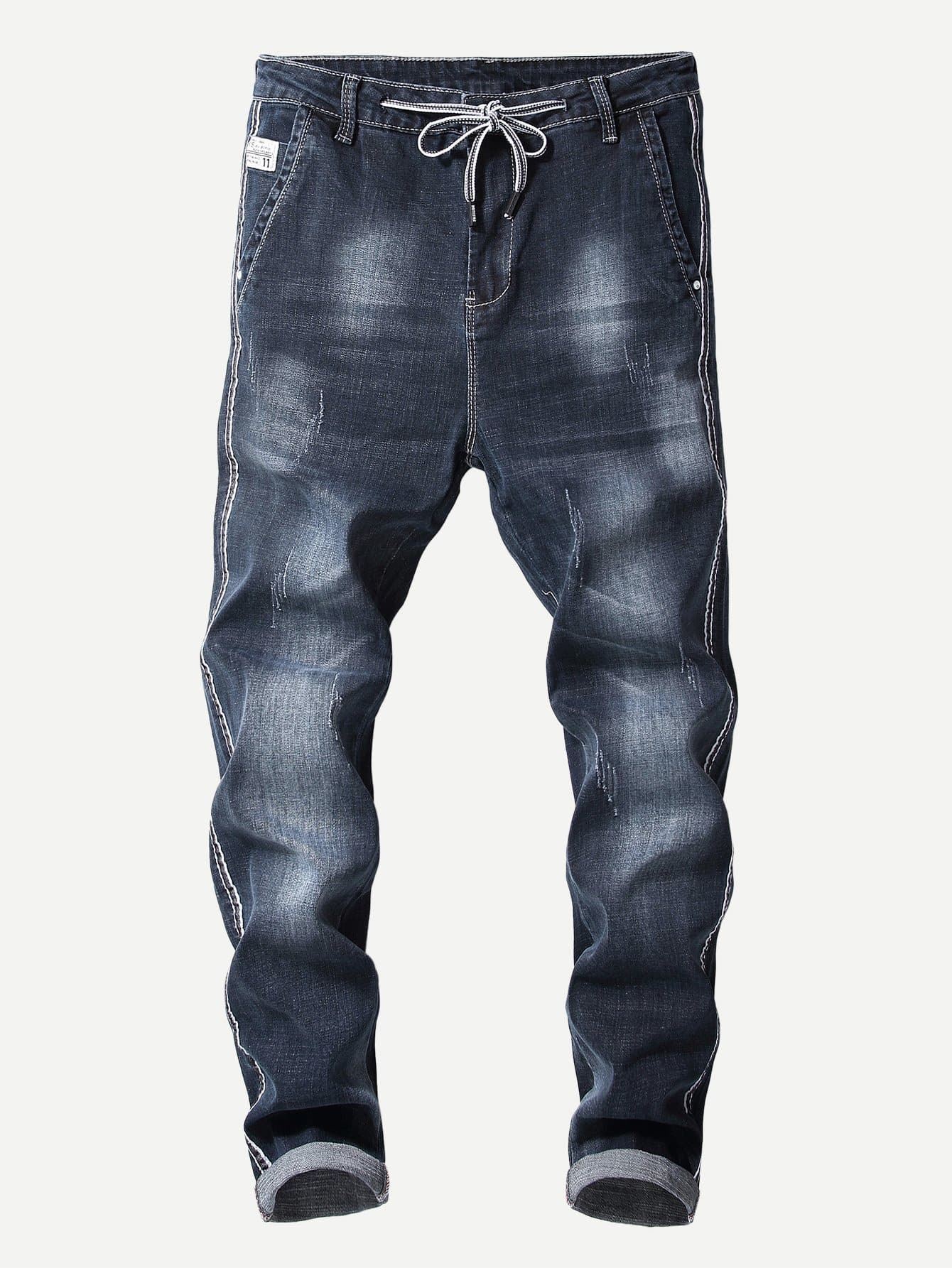 Men Contrast Tape Drawstring Jeans Men Contrast Tape Drawstring Jeans
