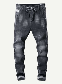Men Contrast Tape Drawstring Jeans