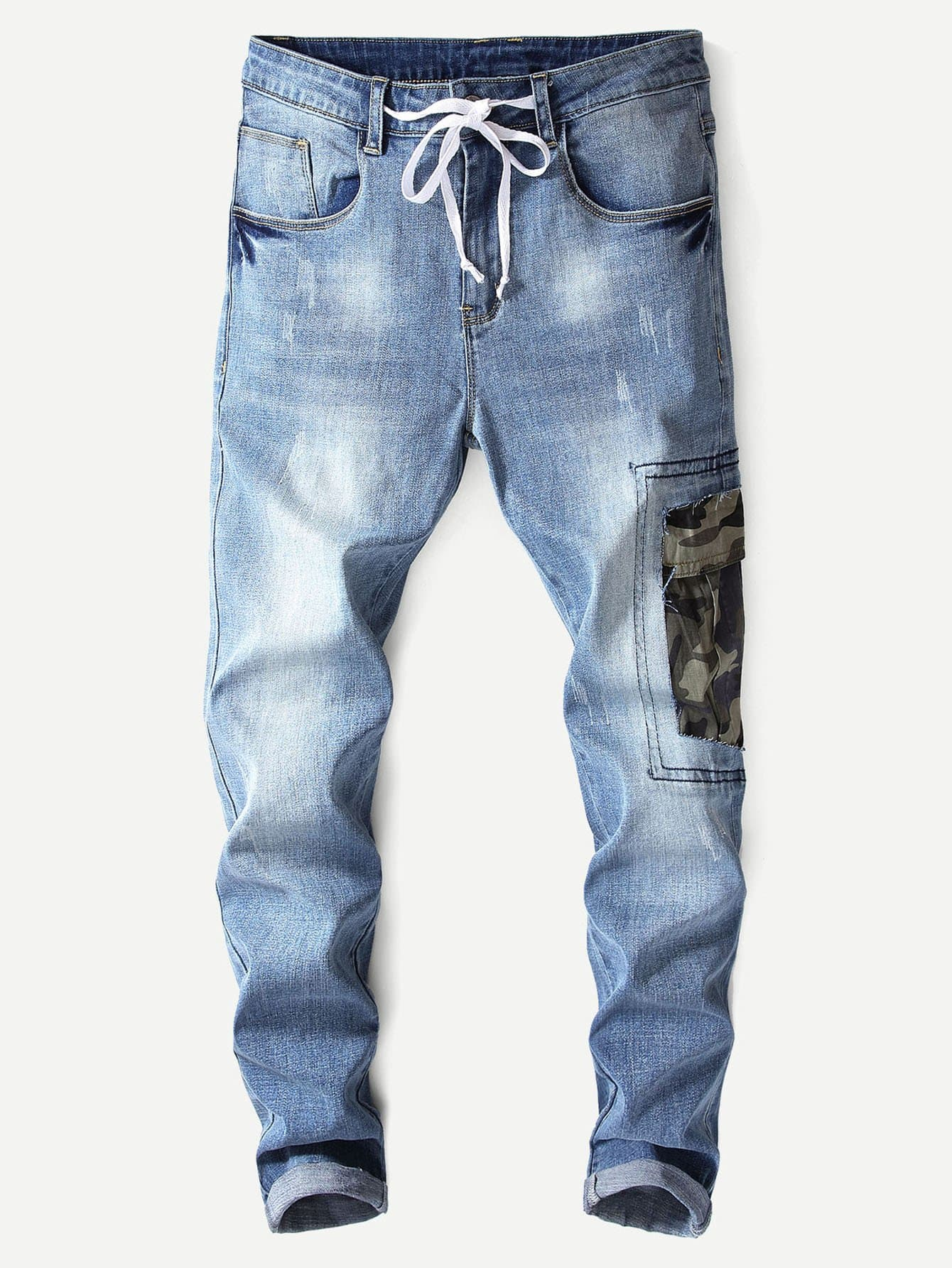 Men Camo Print Washed Jeans Men Camo Print Washed Jeans