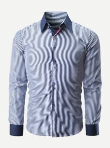 Men Single Breasted Striped Shirt
