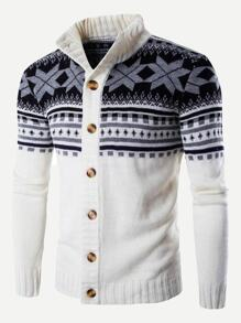 Men Print Knit Coat