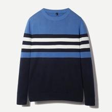 Men Colorblock Striped Sweater