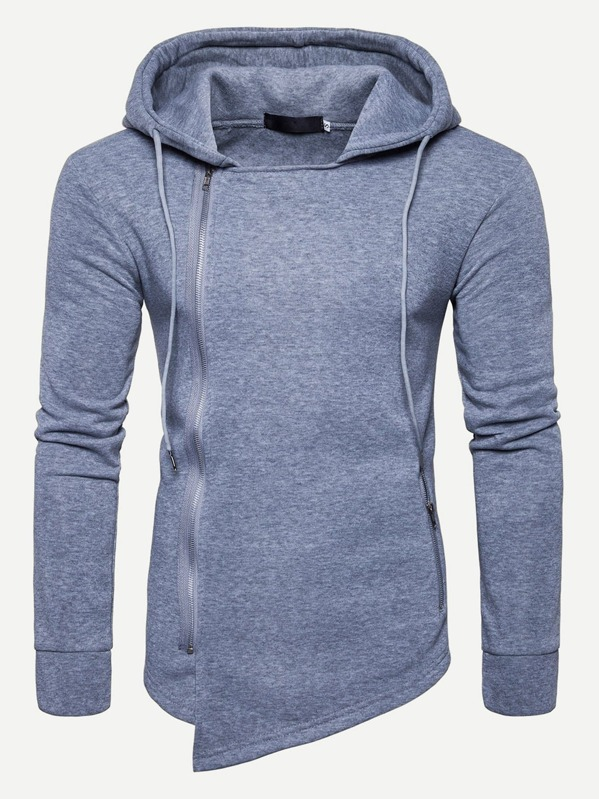 ae2904b4a5 Men Zip Front Solid Hooded Sweatshirt | SHEIN UK