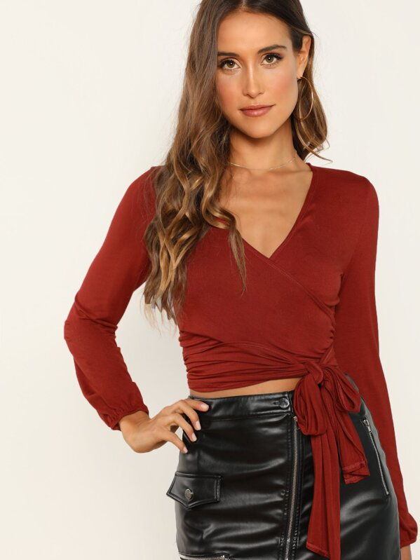 78c3de3b374 Surplice Wrap Self Tie Crop Top | SHEIN