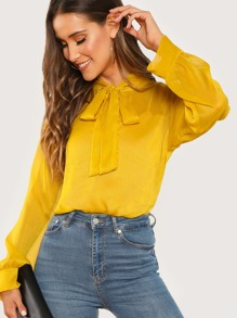Tie Neck Textured Top