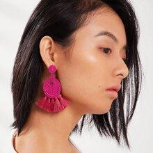 Textured Round Tassel Drop Earrings