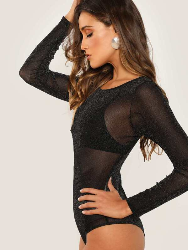 5361571586 Long Sleeve Mesh Bodysuit | SHEIN
