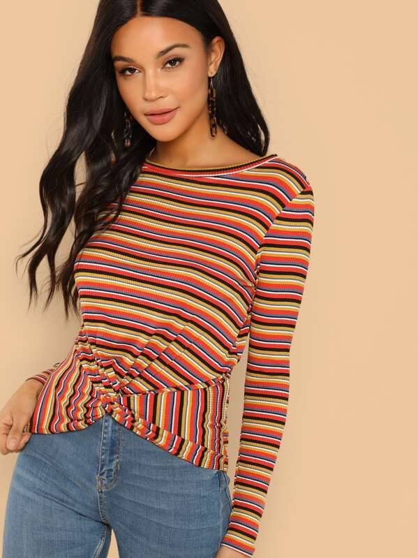 129d1cca02 Twist Front Ribbed Striped Tee
