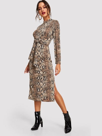 Knot Front Slit Side Snakeskin Dress