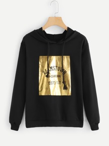 Letter Print Front Hoodie