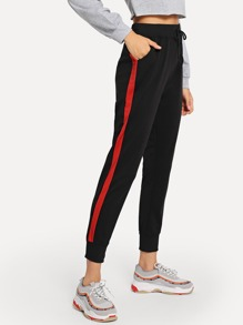 Drawstring Waist Colorblock Side Pants