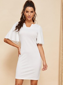 Bell Sleeve Solid Bodycon Dress