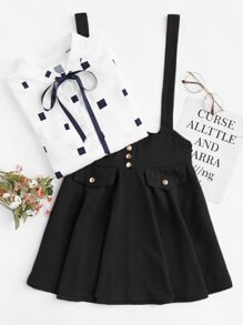 Bow Button Decoration Dress