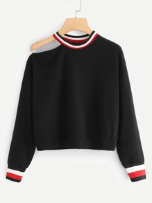Striped Cut Out Neck Sweatshirt