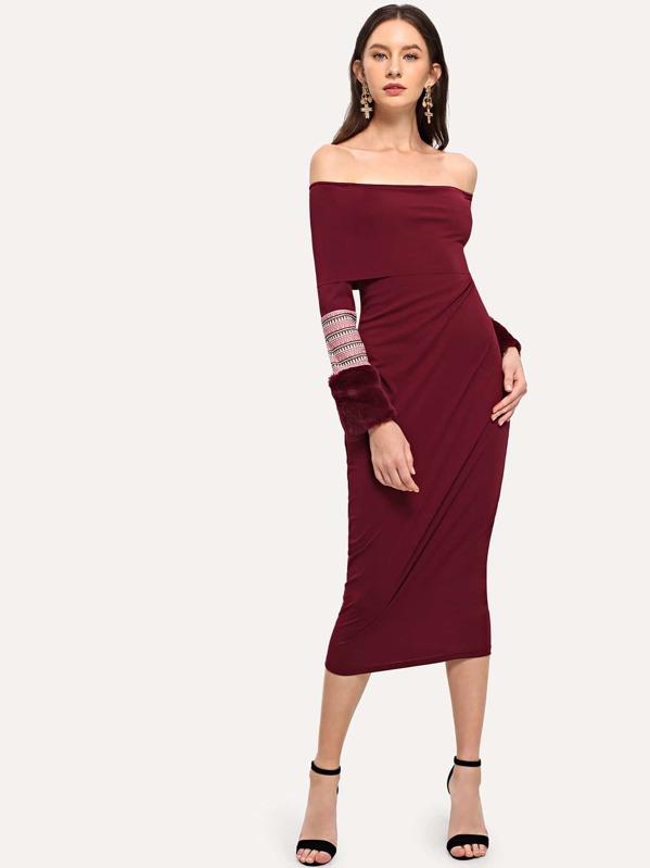 940c0019141f Faux Fur Contrast Sleeve Off-Shoulder Pencil Dress