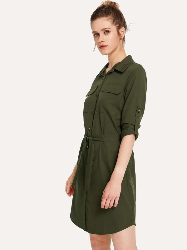 4998c9364d127 Roll-Up Sleeve Tie Waist Utility Shirt Dress | SHEIN IN