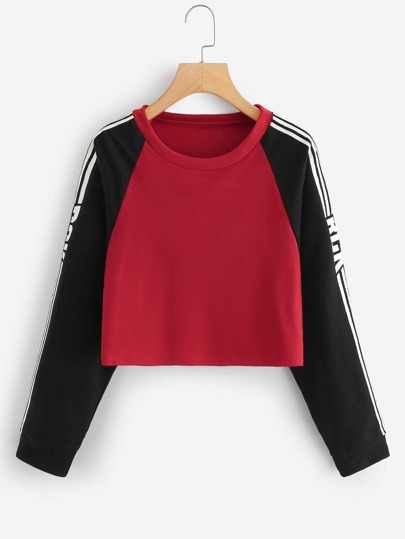 Striped Side Raglan Sleeve Crop Sweatshirt