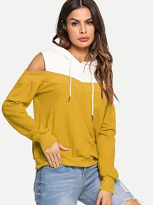 Cold Shoulder Two Tone Hoodie