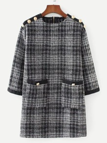 Pocket & Button Detail Plaid Tweed Dress